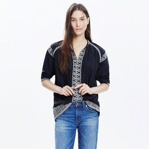 Madewell Camelia embroidered tassel blouse top